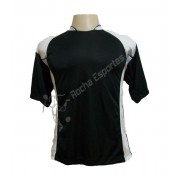 Uniforme Esportivo - Jogo de Camisa modelo Su�cia com 14 Preto/Branco - Frete Gr�tis Brasil + Brindes