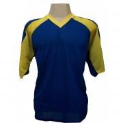 Fardamento Popular Completo modelo Pop Plus Royal/Amarelo 12+1 (12 camisas + 12 cal��es + 13 pares de mei�es + 1 conjunto de goleiro) - Frete Gr�tis Brasil + Brindes