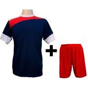 Uniforme Esportivo - Jogo de Camisa modelo Sporting 14 pe�as Marinho/Vermelho/Branco + Cal��o Vermelho - Frete Gr�tis Brasil + Brindes
