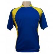 Uniforme Esportivo - Jogo de Camisa modelo Su�cia com 14 pe�as Royal/Amarelo - Frete Gr�tis Brasil + Brindes