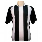 Fardamento - Jogo de Camisa modelo Milan com 12 pe�as Preto/Branco - Frete Gr�tis Brasil + Brindes