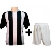 Uniforme Esportivo - Jogo de Camisa modelo Milan Preto/Branco + Cal��o Branco com 12 pe�as - Frete Gr�tis Brasil + Brindes