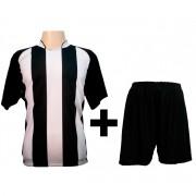 Uniforme Completo modelo Milan Preto/Branco 12+1 (12 camisas + 12 cal��es + 13 pares de mei�es + 1 conjunto de goleiro) - Frete Gr�tis Brasil + Brindes