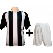 Uniforme Completo modelo Milan Preto/Branco 18+1 (18 camisas + 18 cal��es + 19 pares de mei�es + 1 conjunto de goleiro) - Frete Gr�tis Brasil + Brindes
