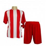 Fardamentos - Jogo De Camisa modelo Milan Vermelho/Branco + Cal��o Vermelho 12 pe�as - PlayFair - Frete Gr�tis Brasil + Brindes