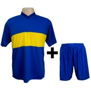 Uniforme Esportivo Completo modelo Boca Juniors Royal/Amarelo 14+1 (14 camisas + 14 cal��es + 15 pares de mei�es + 1 conjunto de goleiro) - Frete Gr�tis Brasil + Brindes