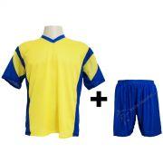 Uniforme Popular - Kit modelo Attack 12+1 Camisa e Cal��o Amarelo/Royal - Frete Gr�tis Brasil + Brindes