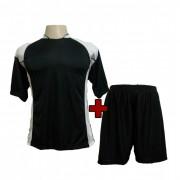 Fardamento - Jogo de Camisa Su�cia + Cal��o com 14 Preto/Branco - Frete Gr�tis Brasil + Brindes