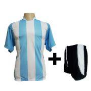 Uniforme Esportivo - Jogo de Camisa modelo Milan Celeste/Branco + Cal��o modelo Copa Preto/Branco com 12 pe�as - Frete Gr�tis Brasil + Brindes