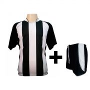 Uniforme Esportivo - Jogo de Camisa modelo Milan Preto/Branco + Cal��o modelo Copa Preto/Branco com 12 pe�as - Frete Gr�tis Brasil + Brindes
