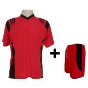 Uniforme Esportivo - Jogo de Camisa modelo Roma Vermelho/Preto + Cal��o modelo Copa Vermelho/Preto com 12 pe�as - Frete Gr�tis Brasil + Brindes