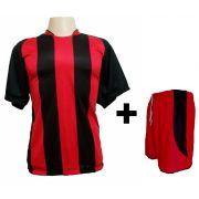 Uniforme Esportivo - Jogo de Camisa modelo Milan Preto/Vermelho + Cal��o modelo Copa Vermelho/Preto com 18 pe�as - Frete Gr�tis Brasil + Brindes