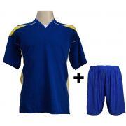 Uniforme Esportivo Completo modelo M�naco Royal/Amarelo/Branco 12+1 (12 camisas + 12 cal��es + 13 pares de mei�es + 1 conjunto de goleiro) - Frete Gr�tis Brasil + Brindes