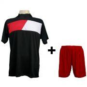 Uniforme Esportivo Completo modelo Tottenham Preto/Vermelho/Branco em Dry 14+1 (14 camisas + 14 cal��es + 15 pares de mei�es + 1 conjunto de goleiro) - Frete Gr�tis Brasil + Brindes