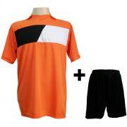 Uniforme Esportivo modelo Tottenham Laranja/Preto/Branco em Dry c/ 14 camisas + 14 cal��es - Frete Gr�tis Brasil + Brindes