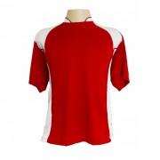Jogo de Camisa modelo Su�cia com 14 Vermelho/Branco - Frete Gr�tis Brasil + Brindes