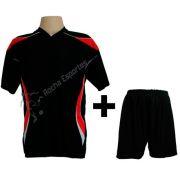 Fardamento modelo M�naco Preto/Vermelho/Branco 12+1 (12 camisas + 12 cal��es + 1 conjunto de goleiro)  - Frete Gr�tis Brasil + Brindes