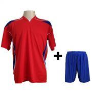 Fardamento modelo M�naco Vermelho/Royal/Branco 12+1 (12 camisas + 12 cal��es + 1 conjunto de goleiro)  - Frete Gr�tis Brasil + Brindes