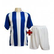 Uniforme modelo Milan Royal/Branco 12+1 (12 camisas + 12 cal��es + 1 conjunto de goleiro)  - Frete Gr�tis Brasil + Brindes