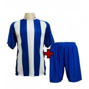 Fardamento modelo Milan Royal/Branco 12+1 (12 camisas + 12 cal��es + 1 conjunto de goleiro)  - Frete Gr�tis Brasil + Brindes