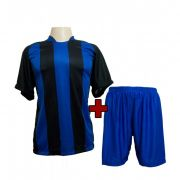 Uniforme modelo Milan Preto/Royal 12+1 (12 camisas + 12 cal��es + 1 conjunto de goleiro) - Frete Gr�tis Brasil + Brindes