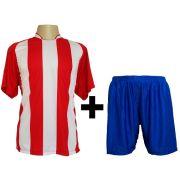 Uniforme Esportivo modelo Milan Vermelho/Branco 18+1 (18 camisas + 18 cal��es + 1 conjunto de goleiro) - Frete Gr�tis Brasil + Brindes