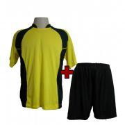 Uniforme Esportivo modelo Su�cia Amarelo/Preto 14+1 (14 camisas + 14 cal��es + 1 conjunto de goleiro) - Frete Gr�tis Brasil + Brindes