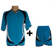 Fardamento - Kit modelo Premium Camisa E Cal��o 12 Pe�as Celeste/Preto/Branco