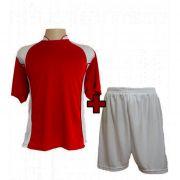 Uniforme Esportivo modelo Su�cia Vermelho/Branco 14+1 (14 camisas + 14 cal��es + 1 conjunto de goleiro) - Frete Gr�tis Brasil + Brindes