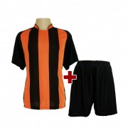 Fardamento - Jogo De Camisa modelo Milan + Cal��o Com 12 Preto/Laranja - PlayFair - Frete Gr�tis Brasil + Brindes