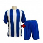 Fardamento - Jogo de Camisa Milan com 18 Azul Royal/Branco + Cal��o Azul - PlayFair - Frete Gr�tis Brasil + Brindes