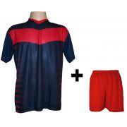 42c0fd5032825 Uniforme Esportivo com 12 camisas modelo Dubai Marinho Vermelho + 12  calções modelo Madrid Vermelho