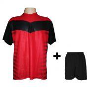 Fardamento Completo modelo Dubai Preto/Vermelho 18+2 (18 camisas + 18 cal��es + 20 pares de mei�es + 2 conjuntos de goleiro) - Frete Gr�tis Brasil + Brindes