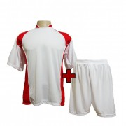 Fardamento - Jogo de Camisa modelo Su�cia + Cal��o com 14 Branco/Vermelho - PlayFair - Frete Gr�tis Brasil + Brindes