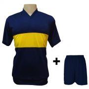 Uniforme Esportivo - Jogo de Camisa modelo Boca Juniors Marinho/Amarelo + Cal��o Marinho com 14 pe�as - Frete Gr�tis Brasil + Brindes
