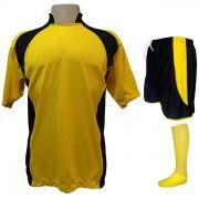 89365f316 Uniforme Esportivo Completo Modelo Suécia 14+1 (14 Camisas Amarelo Preto +  14