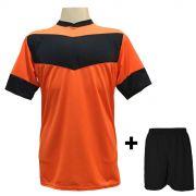 8614f2baab22b Uniforme Esportivo com 18 camisas modelo Columbus Laranja Preto + 18 calções  modelo Madrid Preto