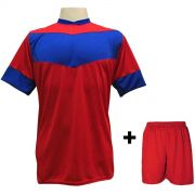 8ea35e17a5 Uniforme Esportivo com 18 camisas modelo Columbus Vermelho Royal + 18  calções modelo Madrid Vermelho