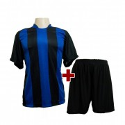 Fardamento - Jogo de Camisa modelo Milan + Cal��o com 18 Preto/Royal - PlayFair - Frete Gr�tis Brasil + Brindes