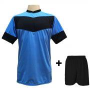 Fardamento modelo Columbus Celeste/Preto 18+1 (18 camisas + 18 cal��es + 1 conjunto de goleiro) - Frete Gr�tis Brasil + Brindes
