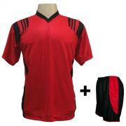 Uniforme Esportivo com 12 camisas modelo Roma Vermelho Preto + 12 calções  modelo Copa Preto a04f3533a4c8c