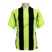 Uniforme Esportivo - Jogo de Camisa modelo Milan com 18 pe�as Lim�o/Preto - PlayFair - Frete Gr�tis Brasil + Brindes