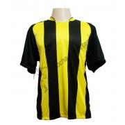 Uniforme Esportivo - Jogo de Camisa modelo Milan com 12 pe�as Preto/Amarelo - Frete Gr�tis Brasil + Brindes