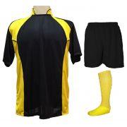 Uniforme Esportivo Completo modelo Suécia 14+1 (14 camisas Preto Amarelo +  14 80cf9e34bd677