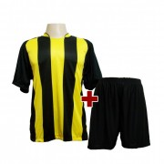 Fardamento Completo modelo Milan Preto/Amarelo 12+1 (12 camisas + 12 cal��es + 13 pares de mei�es + 1 conjunto de goleiro) - Frete Gr�tis Brasil + Brindes