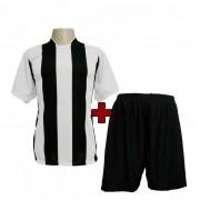 Fardamento Completo modelo Milan Branco/Preto 12+1 (12 camisas + 12 cal��es + 13 pares de mei�es + 1 conjunto de goleiro) - Frete Gr�tis Brasil + Brindes