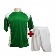 Uniforme Esportivo Completo modelo Su�cia Verde/Branco 14+1 (14 camisas + 14 cal��es + 15 pares de mei�es + 1 conjunto de goleiro) - Frete Gr�tis Brasil + Brindes