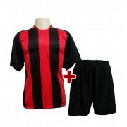 Fardamento - Jogo de Camisa modelo Milan + Cal��o com 18 Preto/Vermelho - PlayFair - Frete Gr�tis Brasil + Brindes