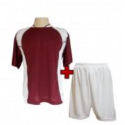 Uniforme Esportivo Completo modelo Su�cia Vinho/Branco 14+1 (14 camisas + 14 cal��es + 15 pares de mei�es + 1 conjunto de goleiro) - Frete Gr�tis Brasil + Brindes