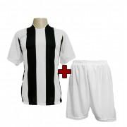 Fardamento Completo modelo Milan Branco/Preto 18+1 (18 camisas + 18 cal��es + 19 pares de mei�es + 1 conjunto de goleiro) - Frete Gr�tis Brasil + Brindes